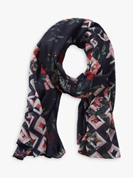 Betty Barclay And Co. Floral Print Scarf Blue Rose
