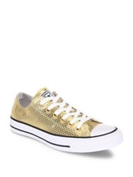 Converse Chuck Taylor All Star Metallic Leather Low Top Sneakers Gold Black