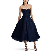J. Mendel Tulle And Tiered Gauze Cocktail Dress Navy