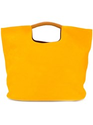 Simon Miller Ridged Handle Tote Women Leather One Size Yellow Orange