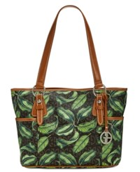 Giani Bernini Block Signature Tote Brown Leaf Silver