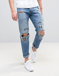 Jack And Jones Intelligence Straight Fit Jeans In Light Blue Wash With Patches Blue Denim