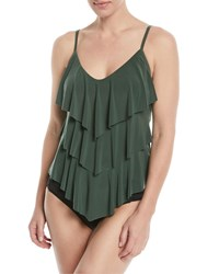 Magicsuit Rita Solid Tiered Tankini Swim Top Green