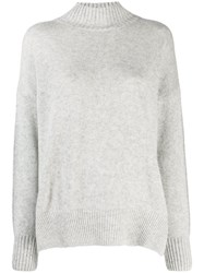 Allude Ribbed Turtle Jumper Grey