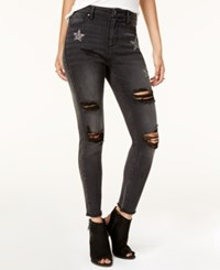 Tinseltown Juniors' Embellished Ripped Skinny Jeans Black Sequin Star