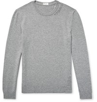 Saint Laurent Distressed Wool And Cashmere Blend Sweater Gray