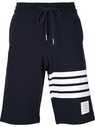 Thom Browne Striped Detail Track Shorts Blue