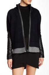 Yigal Azrouel Leather Sleeve Wool Blend Zip Jacket Gray