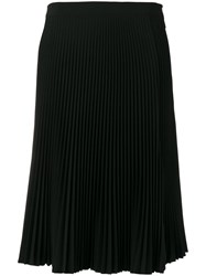 Versace Side Split Pleated Skirt Black