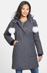 Moose Knuckles Women's 'Stirling' Down Parka With Genuine Fox Fur Trim Dark Grey