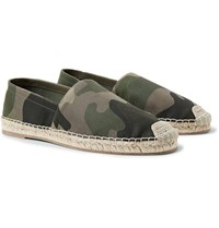 Valentino Camouflage Print Canvas Espadrilles Army Green