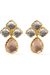 Larkspur And Hawk Sadie Cluster Small Gold Dipped Quartz Earrings One Size