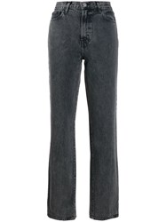 J Brand Washed Effect Straight Jeans Black
