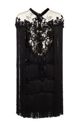 Marchesa Beaded Fringe Cocktail Mini Dress Black
