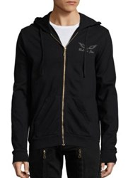 Robin's Jeans Back Studded Cotton Hoodie Black