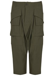 Rick Owens Olive Dropped Crotch Cargo Trousers Dark Green