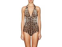 Dolce And Gabbana Leopard Print Halter One Piece Swimsuit