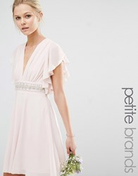 Tfnc Petite Wedding Fluted Sleeve Embellished Waist Mini Dress Peach Blush Pink