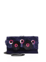 Loeffler Randall Floral Embroidered Suede Tab Clutch Eclipse