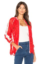 Goen.J Lace Bomber Jacket Red