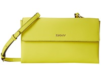 Dkny Bryant Park Saffia Double Flap Shoulder W Det Shoulder Strap Yellow Shoulder Handbags