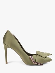 595f30e87e0 Ted Baker Ines Stiletto Heel Bow Detail Court Shoes Green Satin
