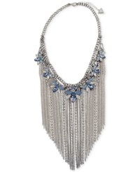 Guess Silver Tone Crystal And Stone Flower With Chain Fringe Statement Necklace 16 2 Extender