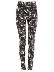 The Upside Japanese Forest Print Technical Jersey Leggings Black Pink