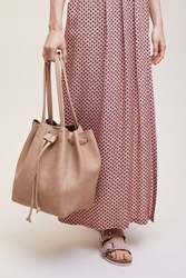 Anthropologie Tasselled Drawstring Tote Cedar