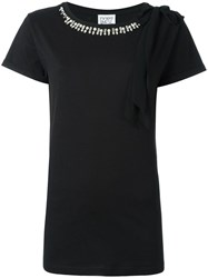 Twin Set Embellished Neck T Shirt Black