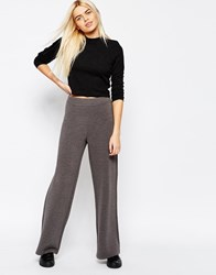 Monki Ribbed Wide Leg Trousers Grye