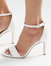 New Look Mid Heel Barely There Sandals White