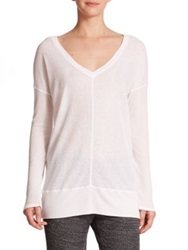Splendid Mixed Stitch V Neck Pullover White