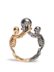 Alexander Mcqueen Double Skeleton Ring Gold Multi