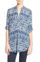 Junior Women's Lush 'Perfect' Roll Tab Sleeve Tunic Navy Ivory Paisley