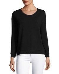Majestic Paris For Neiman Marcus Soft Touch French Terry Sweatshirt Black