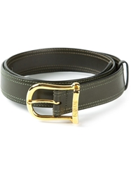 Celine Vintage Stitched Leather Belt Green