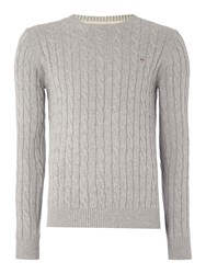 Gant Crew Neck Cable Knit Jumper Light Grey