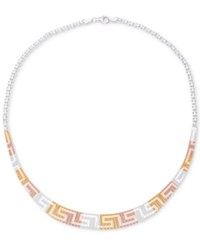 Giani Bernini Tricolor Greek Key Collar Necklace Created For Macy's Pink