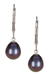 7 8Mm Black Freshwater Pearl Dangling Earrings