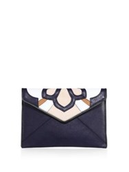 Rebecca Minkoff Floral Patchwork Leo Leather Clutch Moon