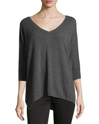Minnie Rose Cashmere 3 4 Sleeve V Neck Sweater Fonce Gris