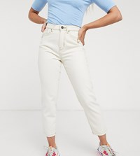 Noisy May Petite Relaxed High Waist Mom Jeans In Ecru Cream
