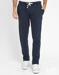 Knowledge Cotton Apparel Navy Drawcord Joggers With Slim Fit Ankle