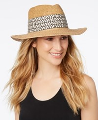 Nine West Mixed Texture Panama Hat Natural Black
