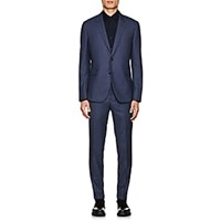 Paul Smith Kensington Gingham Wool Two Button Suit Blue