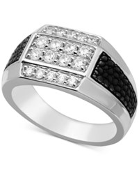 Macy's Men's Diamond Cluster Ring 3 4 Ct. T.W. In 10K White Gold And Black Rhodium Plate