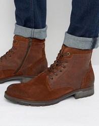Jack And Jones Hanibal Lace Up Leather Boots Brown