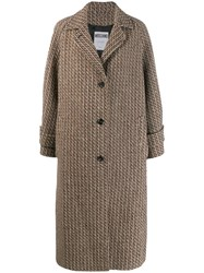 Moschino Single Breasted Woven Coat Neutrals