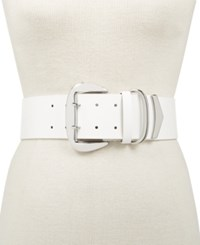Inc International Concepts I.N.C. Oversized Buckle Stretch Belt Created For Macy's White
